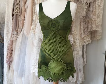 Olive green  top, woodland inspired , forest looking clothing,beautiful hand dyed top , feminine sexy top ,gift for her, fairy top,gypsy