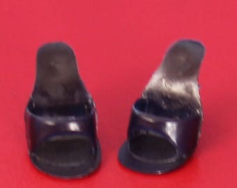 Vintage Barbie Very Hard to Find Navy Blue Open Toe Shoes, Near Mint
