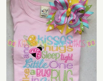 ON SALE Butterfly Kisses and Ladybug Hugs Applique Shirt and Matching Hairbow - Princess