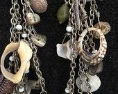 Earrings ~ Shells Abalone Allure Chandlier Multi Strands Cluster of Treasures Big Sur Tribal. Artist: Teresa Bradford-Cole