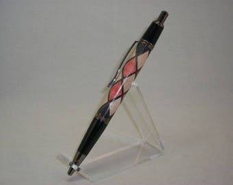 Harlequin Inlay Pen, Red, White and Black Harlequin