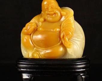 N3773  Chinese Shoushan Stone Laughing Buddha Statue