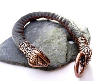 Lederarmband verschlüsse  Schlange kopf armband | Etsy