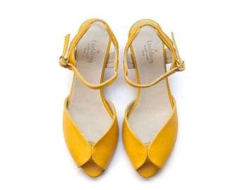 Summer Sale Yellow Adelle Sandals, Handmade Leather shoes, Women heels sandals free shipping