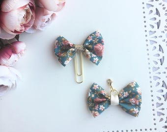 Teal Blue Floral Traveler's Notebook Bow Charm and Planner Bow Charm