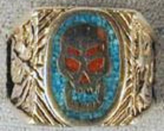 Impressed Skull Turquoise Ring