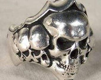 Stacked Skulls Biker Ring