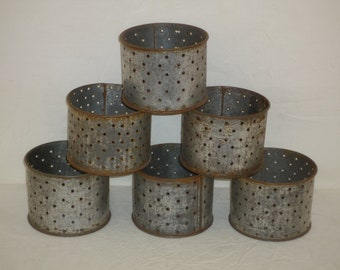 Set of 3  old French steel cheese strainers, cheese moulds, tin molds, metal faisselles Farm goat & cow cheese