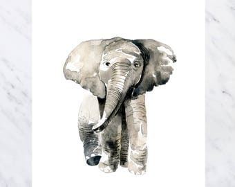 Elephant Print Nursery, Elephant Print, Elephant Art, Elephant Wall Decor, Watercolor Elephant Print, Elephant Baby Gift