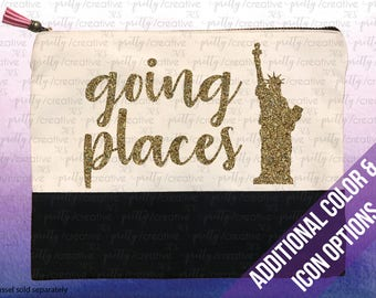Going Places Travel Icon Two Tone Makeup/Travel Cosmetic Bag with Black Canvas Trim -  Black, Silver or Gold Glitter