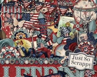 On Sale 50% Let Freedom Ring Fourth Of July Digital Scrapbook Kit - Digital Scrapbooking