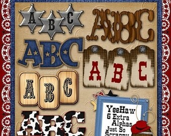 On Sale 50% Off Alphabets - Yee Haw Digital Scrapbook Kit Extra Alphabets - Digital Scrapbooking