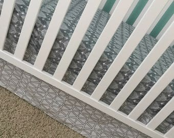 3-Sided Crib Skirt - White with Grey Triangles