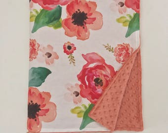 Minky Blanket  - Floral Dreams with Desert Rose Minky