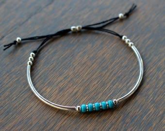 Turquoise Friendship Bracelet, Turquoise and silver Bracelet, Womens Beaded Bracelet, Boho Chic Turquoise Bracelet, Boho Stack Bracelet