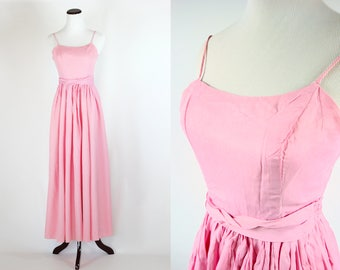 1950's Pink Sleeveless Maxi Party Dress