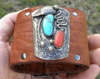 Vintage Native Indian Navajo sterling silver turquoise Coral  Ketoh cuff Bracelet Tobacco  Bison  leather adjustable sizable 7 to 8 inch
