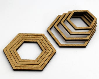 8 Concentric Hexagon Wood Beads : Bamboo
