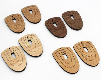 6 Concentric Shield Wood Beads : Cherry, Maple, Walnut or Bamboo