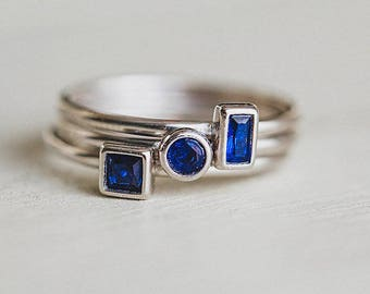 September Birthstone Ring in Sterling Silver - Stackable Ring Blue Sapphire Color Stone - Perfect Gift for September Birthday - Mothers Day