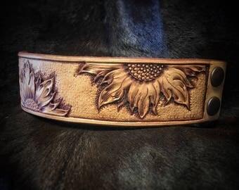 Leather Sunflower Etsy