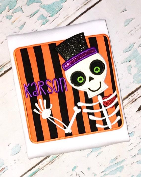 Skeleton in a Box appliqué, Skeleton applique, Skeleton shirt, Halloween shirt