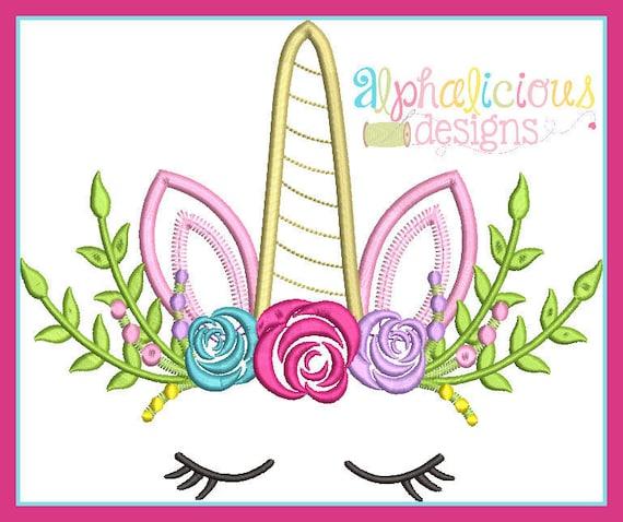 Floral Unicorn Applique, Unicorn Horn Applique, Unicorn Applique, Unicorn Shirt, Unicorn