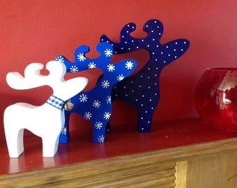 Christmas reindeer, reindeer family, blue christmas decorations