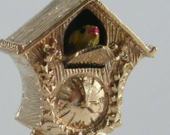 Vintage 3D Mechanical 9ct Gold Cuckoo Clock Charm H/MK 1966