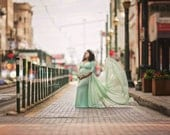 MELANIA Chiffon SAGE GREEN Maternity Gown, long chiffon open sleeves, bell sleeves,  Maternity Dress, Baby shower dress, cape dress