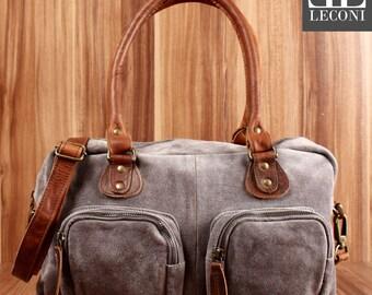 LECONI Shoulder bag handbag leather tote bag women suede suede Grey LE0046-VL