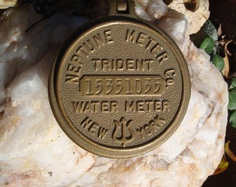 Brass Water Meter Cap Cover Housing Neptune Meter Company Trident New York a2562