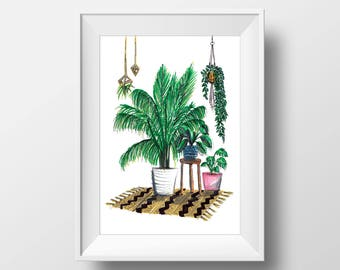 House plant love // print // artwork // illustration // plant illustration //