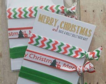 Christmas Elastic Hair Ties, Girls Hair Ties, FOE Hair Ties, Toddler Accessories, Women's Accessories-stocking stuffer, Christmas gift