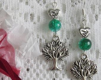 Tree of life & engraved heart earrings