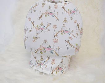 Skull Car Seat Canopy / Nursing Cover / High Chair Cover / Stretchy Car Seat Cover / Baby Shower Gift