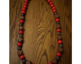 Bulky Red, Black and Brown Wood Bead Necklace