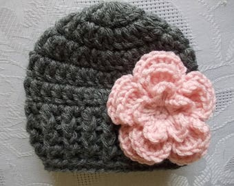 Wool baby hat Baby girl hat Crochet baby hat Newborn girl beanie Winter baby hat Charcoal baby hat Baby hat with flower Baby girl outfit
