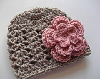 Crochet baby hat Baby girl hat Spring baby hat Taupe baby hat Baby girl beanie Newborn girl hat Baby girl outfit Baby hats for girls