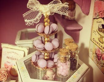 MINIATURE PINK MACAROONS - 1/12 scale, handmade, pink macaroons, with chocolate filling