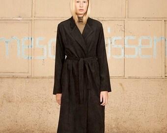 Christmas in July SALE,Black Coat, Black Long Coat, Women Black Maxi Coat,High Collar Black  Jacket