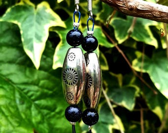 Blue Goldstone tribal earrings