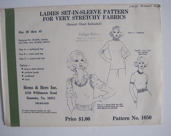 Vintage HEMS & HERS Ladies Set-In-Sleeve Sleeve Pattern for Very Stretchy Knits  #1050