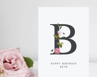 Personalised Card, Floral Alphabet Print, Birthday Card, Thank You Card, I Love You Card, Card for Wife, Card for Girlfriend, A6 Card