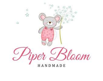 Premade Logo Kids Bear Dandelion Baby Cute Accessories Clothes Watercolor Custom Shop Logo Business Card Branding Design Wedding Signs LD123
