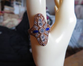 GORGEOUS Art Deco 1.00ctw Blue and White Diamond Cut Sapphire 14KT Rose Gold over 925 Sterling Silver Ring Size 7, Weight 4.5 Grams