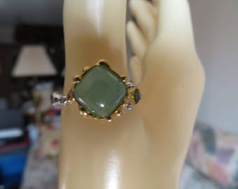 New Handcrafted Natural Green 18.25ctw Emerald & Chrome Diopside 14KT Gold/925 Sterling Silver Ring Size 8.25, Wt. 3.7 Grams