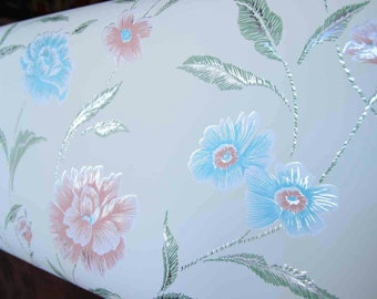 Vintage Wallpaper Roll Florals with Metallic Silver