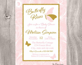 Pink and god butterfly kisses baby shower invitation, printable blush and gold baby girl butterflies invite, girl baby shower invitation