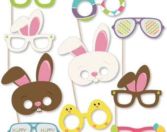 Easter - Photo Booth Accessories - Fun Selfie Easter Bunny Card Stock Paper Photo Booth Props Glasses - Hippity Hoppity Easter Props -10 Pc